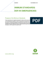 Oxfam Minimum Standards for Gender in Emergencies