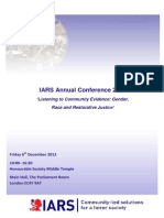 IARS. Annual Conference 2013 Agenda. 'Listening to Community Evidence