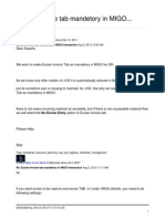 Excise Invoice Tab Mandetory in MIGO