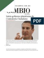 26-11-2013 Diario Matutino Cambio de Puebla - Inicia gobierno plataforma de Contraloría Ciudadana
