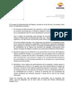 Comunicado Repsol por acuerdo por YPF