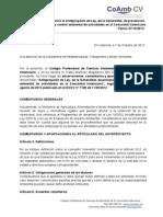 Aportaciones y comentarios al Anteproyecto de Ley, de la Generalitat, de prevención, calidad y control ambiental de actividades en al Comunitat Valenciana