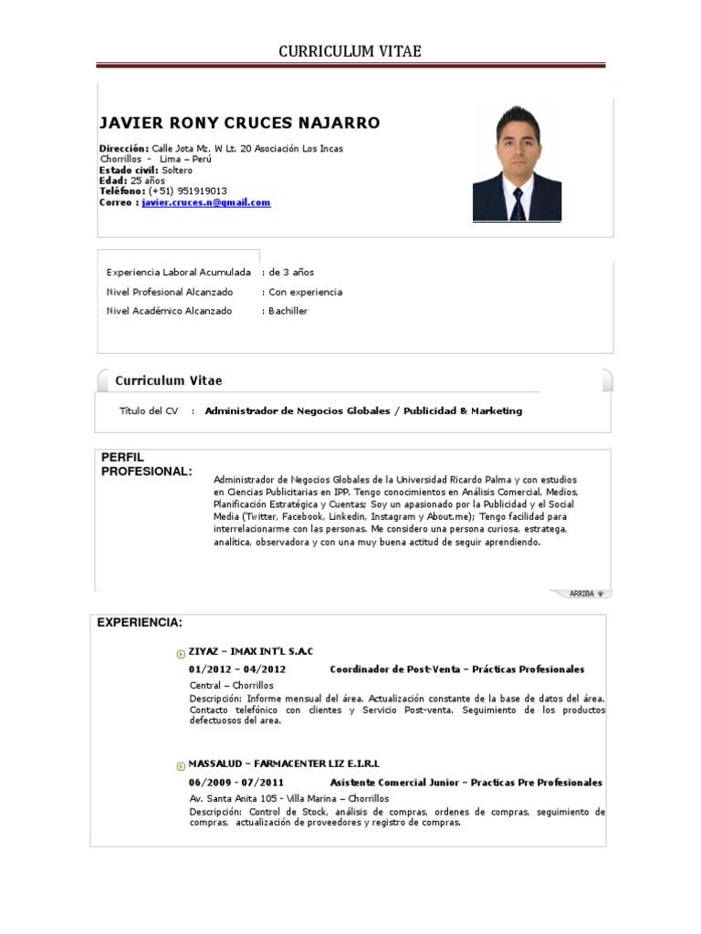 Curriculum Vitae - CV - Planner - Estrategico - Creativo - Curioso ...