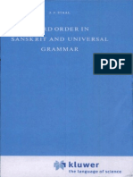 Word Order in Sanskrit and Universal Grammar by J.F.Staal