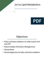 Introduction to Lipid Metabolism