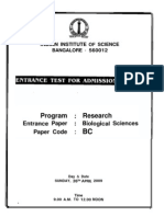 IISC Bangalore Ph.D Entrance Question Paper 2009