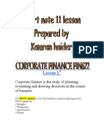 Corporate Finance Fin622 Short Note