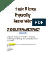 Corporate Finance Fin622 Short Note