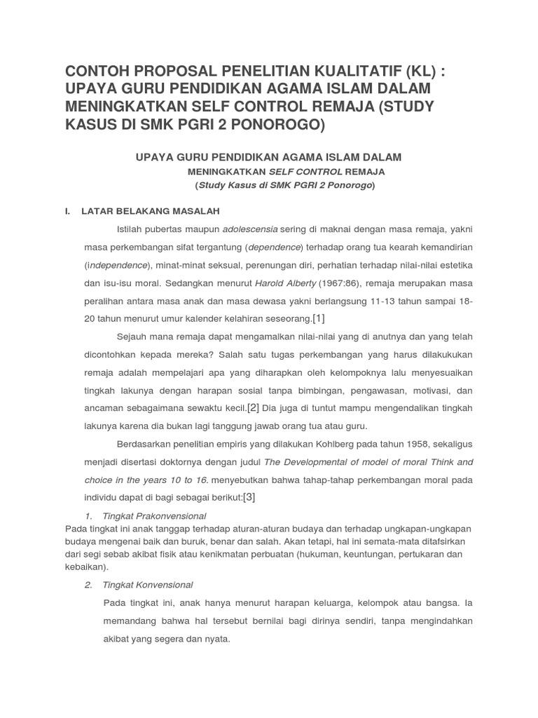 Contoh Proposal Tesis Pendidikan Agama Islam Penelitian Kualitatif Lengkap