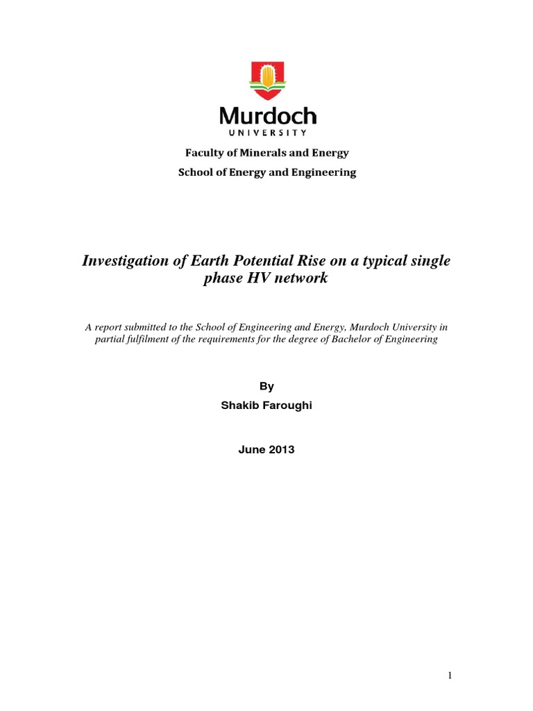 Investigation Of Earth Potential Rise On A Typical Single Phase Hv Household Circuits Ausgrid Network Electric Power System Electrical Impedance