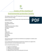 The Minutes of the Meeting of Environmental Protection Society