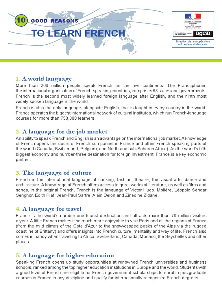 Bonnes Raisons Anglais French Language France - Top international languages in the world
