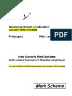 Philosophy - New Aqa Mark Scheme Jan 2012