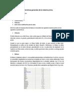 Características generales de la materia prima trabajo de jair
