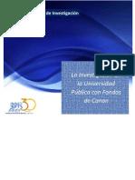 Utilización del Canon para investigación en la Universidad Pública Peruana 28-05-2013