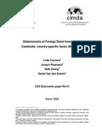 Determinants of FDI in Cambodia