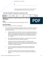 Request to Amend the Tripartite Agreement for Billy Bishop Toronto City Airport