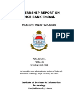 Internship report on MCB (PIA Society branch) 2013 by Azka Sumbel, IBIT