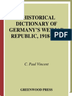 C. Paul Vincent a Historical Dictionary of Germanys Weimar Republic, 1918-1933 1997