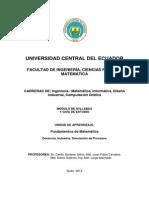 Syllabus FUND de MATEMATICAS Danilo Gortaire J Marzo 2012