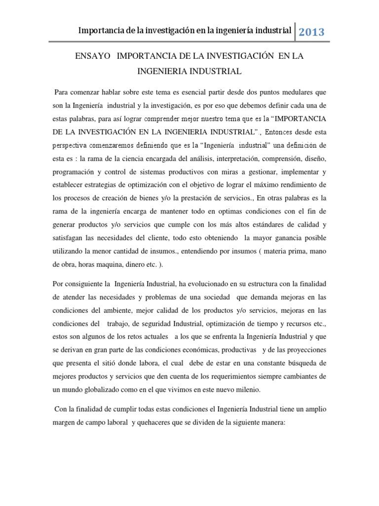 ENSAYO IMPORTANCIA DE LA INVESTIGACIÓN CIENTIFICA EN LA INGENIERIA ...