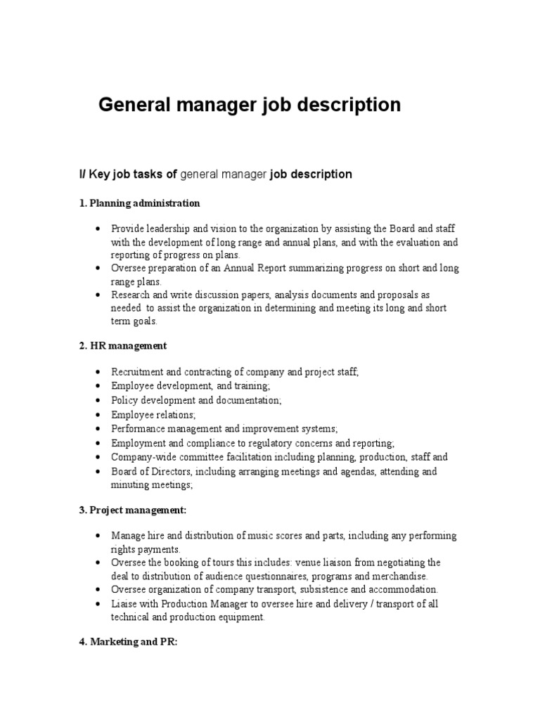 Awesome General Manager Job Description | Employment | Insurance