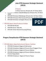 Status Penyelesaian Rencana Tata Ruang Kawasan Strategis Nasiaonal (RTR KSN) Per November 2013
