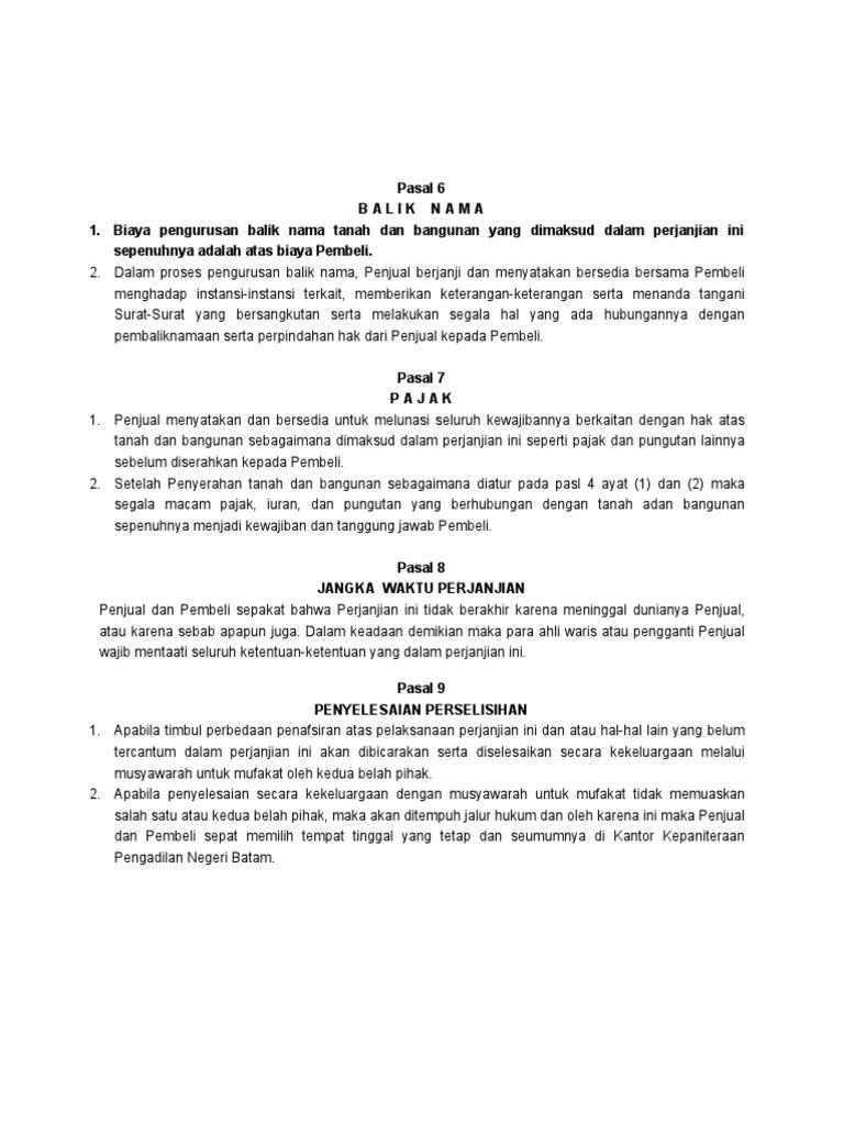 Surat Perjanjian Jual Beli Rumah Harmanto