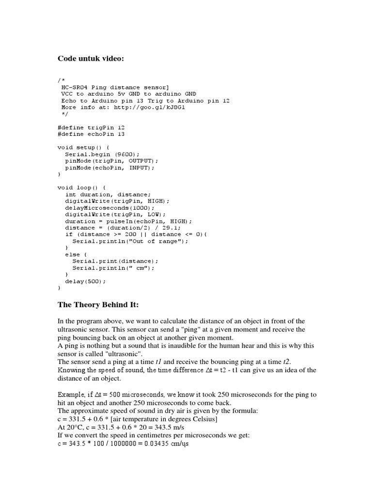 Arduino And Hc Sr04 Ultrasonic Sensor Computer Architecture Datasheet Engineering