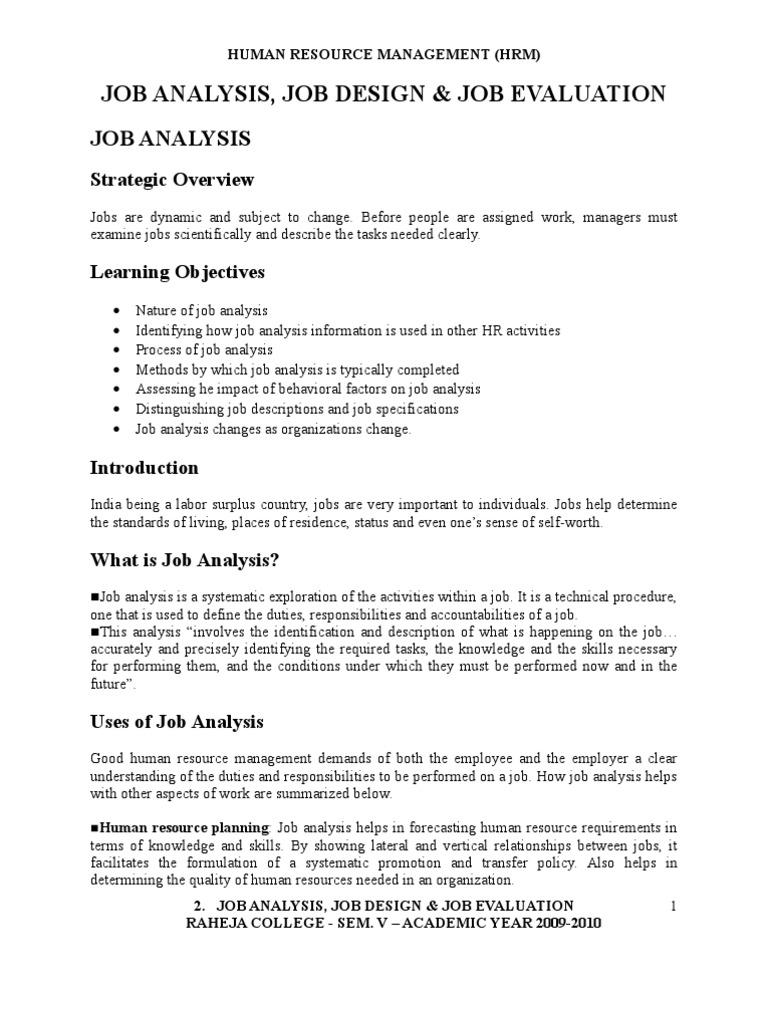 Hrm Job Analysis Employment Organizational Behavior