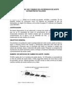 Diagnostico Del Uso y Manejo de Los Residuos de Aceite Automotriz en Talleres