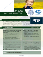 Certified ISO 14001 Lead Implementer - Four Page Brochure