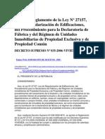 TUO del Reglamento de la Ley Nº 27157, Ley de Regularización de Edificaciones, del Procedimiento para la Declaratoria de Fábrica y del Régimen de Unidades Inmobiliarias de Propiedad Exclusiva y de Propiedad Común