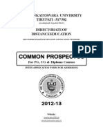 Sri Venkateshwara University Distance Education Prospectus