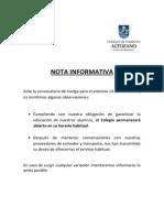 Nota Informativa - Huelga