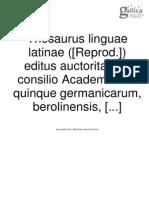 Thesaurus LL. Vol. II Fasc I