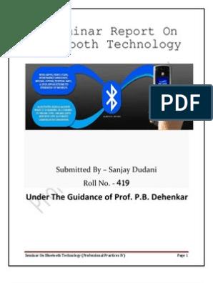A Seminar On Bluetooth Technology   Bluetooth   Wireless