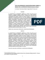 Efecto del detergente en diferentes concentraciones sobre la población y biomasa de la lenteja de agua (Lemna minor)
