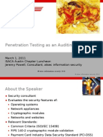 Penetration Testing as Audit Tool