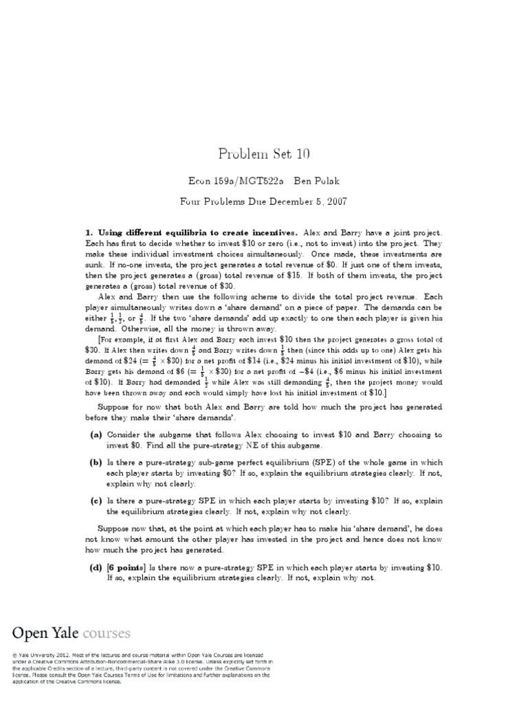 Problem Set 10 | Economic Equilibrium | Economics