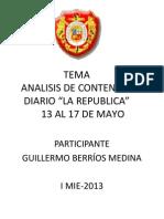 IE. Berríos, Guillermo, Resumen, 17 May