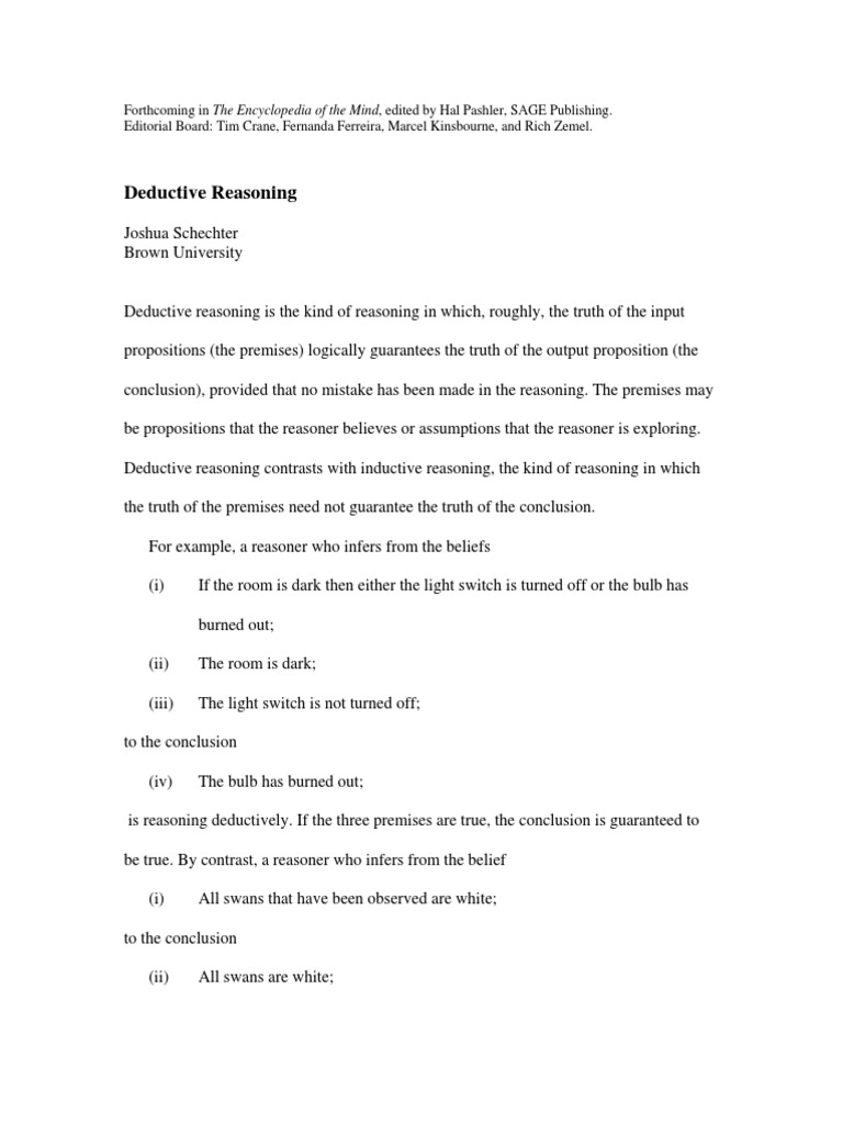 Deductive Reasoning Reason Inference