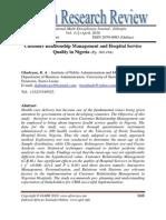 Customer Relationship Management and Hospital Service