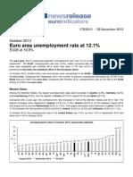 Tasa de desempleo de la zona euro en el 12,1%  Octubre 2013. Datos de Eurostat (En Ingles)