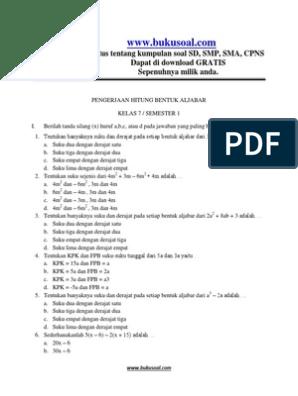 19 Contoh Soal Aljabar Tes Cpns Kumpulan Contoh Soal