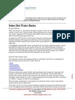 Solar Hot Water Basics