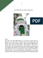 Hazrat Sayyid Sahib Husayni Qaderi Tekmal Hyderabad