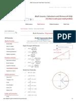 Math Formulas and Cheat Sheets Trigonometry