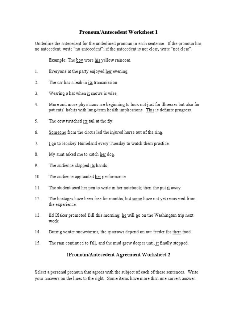 Worksheets Pronouns And Antecedents Worksheets pronoun antecedent worksheet syntactic relationships language mechanics