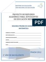 Segunda Prueba de Avance  - Matemática  - Segundo Año de Bachillerato (PRAEM 2012)